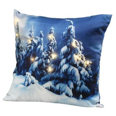 17 in. Winter Scene Pillow with LED Lights