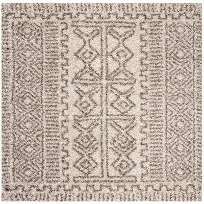 Hudson Shag Ivory/Gray 5 ft. x 5 ft. Square Tribal Border Area Rug