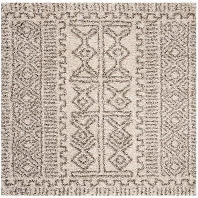 Hudson Shag Ivory/Gray 7 ft. x 7 ft. Square Tribal Border Area Rug