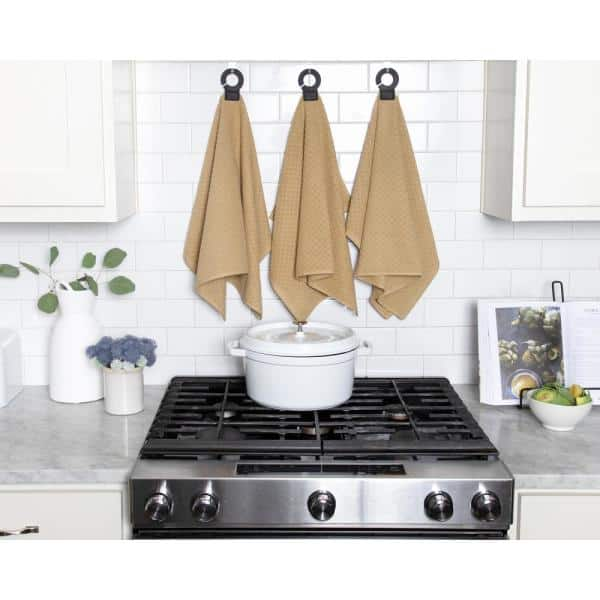 Ritz Hook And Hang Biscotti Woven Cotton Kitchen Towel Set Of 2 84178 The Home Depot