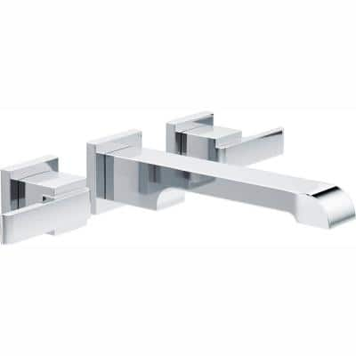 Ara 2-Handle Wall Mount Bathroom Faucet Trim Kit in Chrome (Valve Not Included)