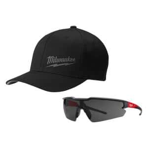 Large/Extra Large Black Fitted Hat and Safety Glasses with Tinted Anti-Scratch Lenses
