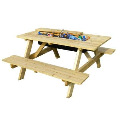 Natural Wood Picnic Table with Built-in Cooler