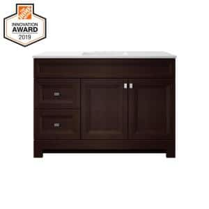 Sedgewood 48-1/2 in. Configurable Bath Vanity in Dark Cognac with Solid Surface Top in Arctic with White Sink