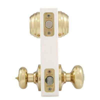 Juno Polished Brass Exterior Entry Door Knob and Double Cylinder Deadbolt Combo Pack Featuring SmartKey Security