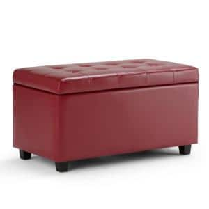 Cosmopolitan 34 in. Wide Transitional Rectangle Storage Ottoman in Red Faux Leather