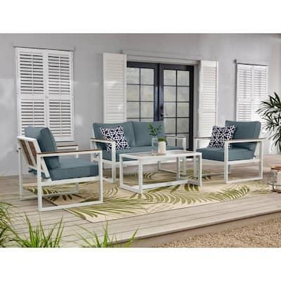 West Park White Aluminum Outdoor Patio Loveseat with Sunbrella Denim Blue Cushions