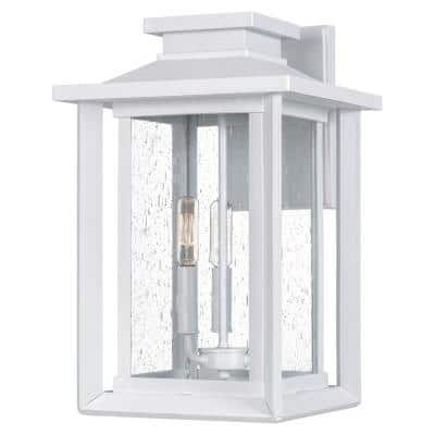 Wakefield 3-Light White Lustre Outdoor Wall Lantern Sconce