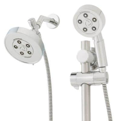 3-spray 4.75 in. Dual Shower Head and Handheld Shower Head in Polished Chrome