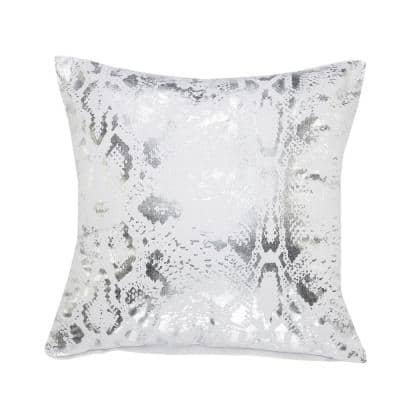Metallic White / Silver Snake Skin Soft Poly-fill 20 in. x 20 in. Throw Pillow