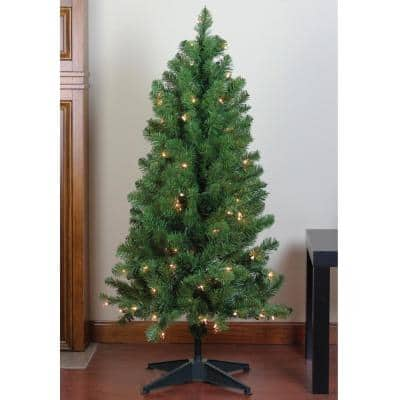 4 ft. x 25 in. Pre-Lit Noble Pine Artificial Christmas Tree Clear Lights