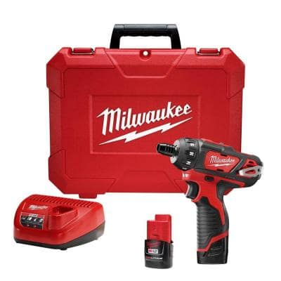 M12 12-Volt Lithium-Ion Cordless 1/4 in. Hex 2-Speed Screwdriver Kit with Two 1.5 Ah Batteries and Hard Case