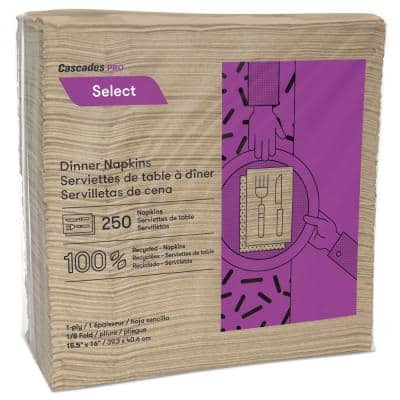 Select Dinner Napkins, 1-Ply, 16 in. x 15 1/2 in., Natural, 250/Pack, 12 Packs/Carton