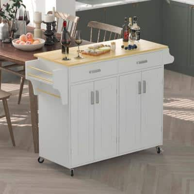 Kitchen White Trolley Island Utility Cart Wood Top Rolling With Storage Cabinet and Drawers