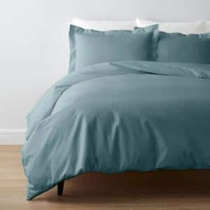 Company Cotton Blue Smoke Solid 300-Thread Count Cotton Percale Twin Duvet Cover