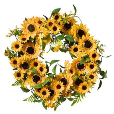 22 in. Spring Wreath with Sunflower