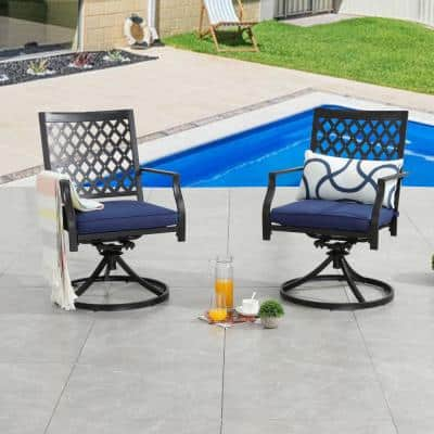 Swivel Metal Outdoor Lounge Chair with Blue Cushions