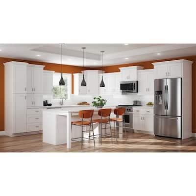 Vesper White Shaker Assembled Plywood 36 in. x 34.5 in. x 21 in. Easy Reach Corner Base Kitchen Cabinet Left Hand
