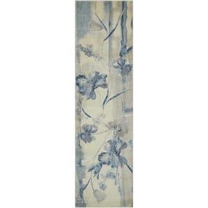 Somerset Ivory/Blue 2 ft. x 8 ft. Floral Vintage Runner Rug