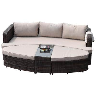 Sunrise Hill Brown 4-Piece Wicker Outdoor Patio Furniture Day Bed with Beige Cushions