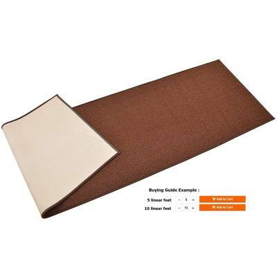 Rubber Collection Solid Brown 26 in. Width x Your Choice Length Custom Size Runner Rug