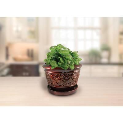 10 in. Dia Brown Rustic Damask Ceramic Planter