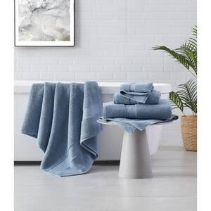 Solid Turkish Cotton 6-Piece Towel Set in Blue