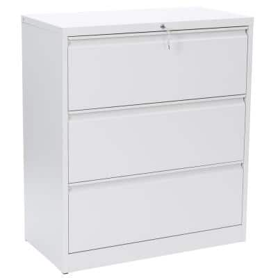 3-Drawer White File Lateral Desk Cabinet with Lock Heavy Duty Metal File Cabinets for Office Use Assembly Required