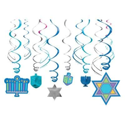Hanukkah Swirl Decorations (12-Count, 3-Pack)