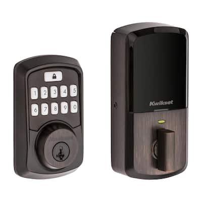 Aura Venetian Bronze Single Cylinder Electronic Bluetooth Keypad Smart Lock Deadbolt featuring SmartKey Security