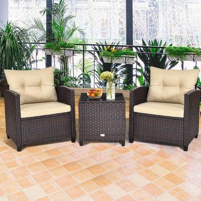 3-Piece Patio Rattan Furniture Set Cushioned Conversation Set Sofa Coffee Table Beige