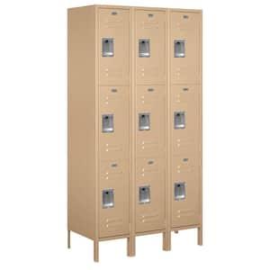 53000 Series 45 in. W x 78 in. H x 18 in. D Triple Tier Extra Wide Metal Locker Unassembled in Tan