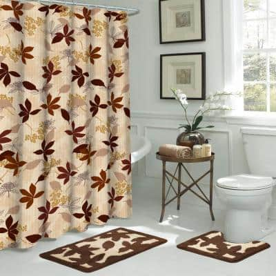 Blowing Leaves 18 in. L x 30 in. W 15-Piece Bath Rug and Shower Curtain Set in Dark Brown