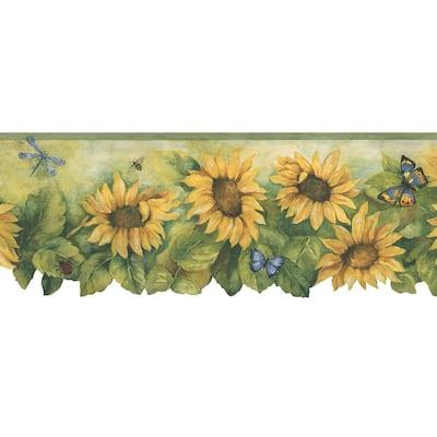 Die Cut Sunflower Mustard Yellow, Green, Blue Wallpaper Border