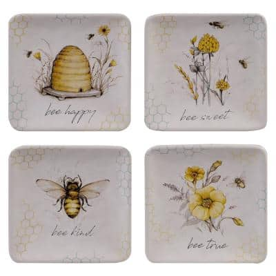 Bee Sweet 4-Piece Seasonal Multicolored Earthenware 6 in. Canape Plate Set (Service for 4)