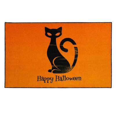 Happy Cat Orange 2 ft. 6 in. x 4 ft. 2 in. Halloween Indoor Area Rug
