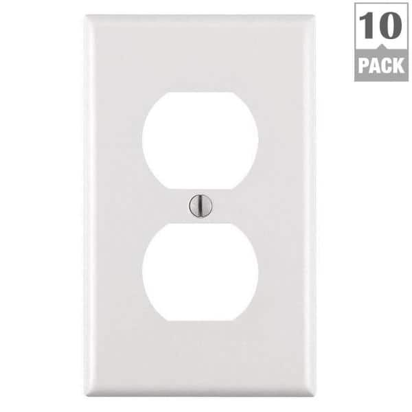 Leviton 1 Gang White Duplex Outlet Wall Plate 10 Pack M24 88003 Wmp The Home Depot