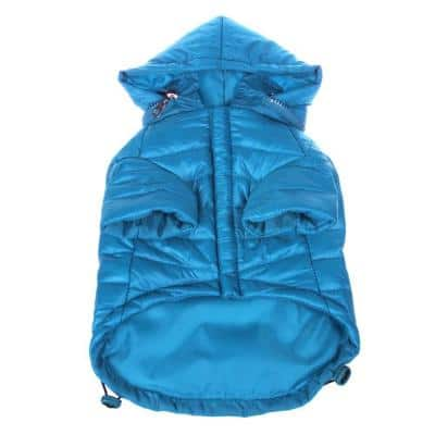 Large Ocean Blue Lightweight Adjustable Sporty Avalanche Dog Coat with Removable Pop Out Collared Hood