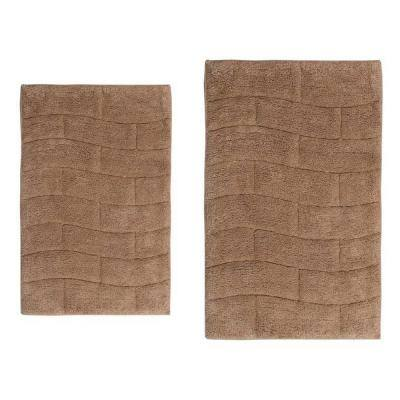 21 in. x 34 in. and 24 in. x 40 in. New Tile 2-Piece Bath Rug Set