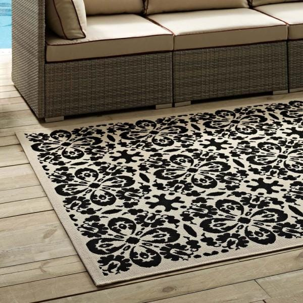 Modway Ariana In Black And Beige 5 Ft X 8 Ft Vintage Floral Trellis Indoor And Outdoor Area Rug R 1142e 58 The Home Depot