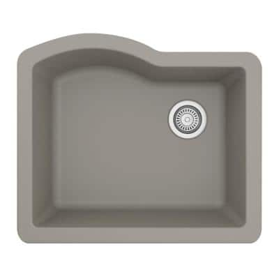 Undermount Quartz Composite 24 in. Single Bowl Kitchen Sink in Concrete