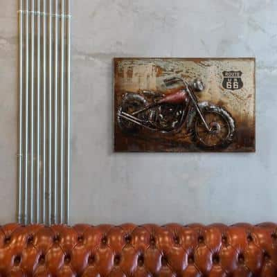 """""""Motorcycle 5"""" Mixed Media Iron Hand Painted Dimensional Wall Art"""