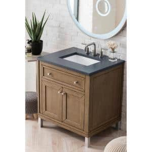 Chicago 30 in. W Single Bath Vanity in Whitewashed Walnut with Quartz Vanity Top in Charcoal Soapstone with White Basin