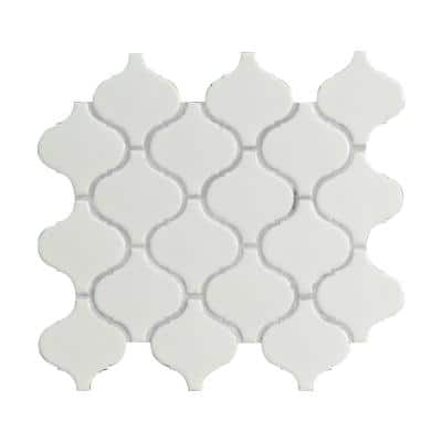 Retro Bianco Arabesque 10.63 in. x 8.84 in. x 6 mm Glossy Porcelain Mosaic Tile (10.95 sq. ft. / case)