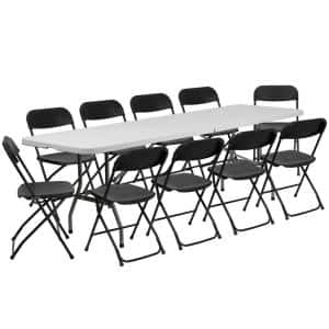 11-Piece Black Folding Chair and Table Set