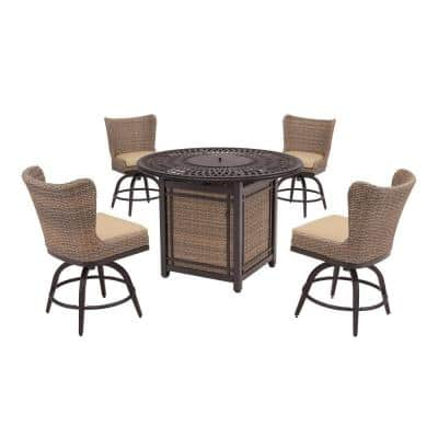 Hazelhurst 5-Piece Brown Wicker Outdoor Patio High Dining Fire Pit Seating Set with Sunbrella Beige Tan Cushions