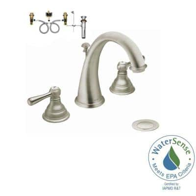 Kingsley 8 in. Widespread 2-Handle High-Arc Bathroom Faucet Trim Kit in Brushed Nickel (Valve Included)