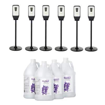 1200 ml Automatic Hand Sanitizer Dispenser and Floor Stand with 1 Gal. Gel Hand Sanitizer Case of 4 (6-Pack)