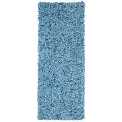 Light Blue Shag Chenille Twist 2 ft. x 5 ft. Runner