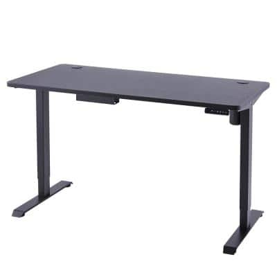 48 in. Retangular Black Standing Computer Desk with Cable Management
